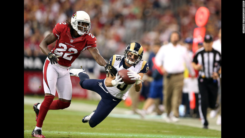 Wide receiver Danny Amendola of the Rams catches a 38-yard reception past cornerback William Gay of the Cardinals during the second quarter on Sunday.