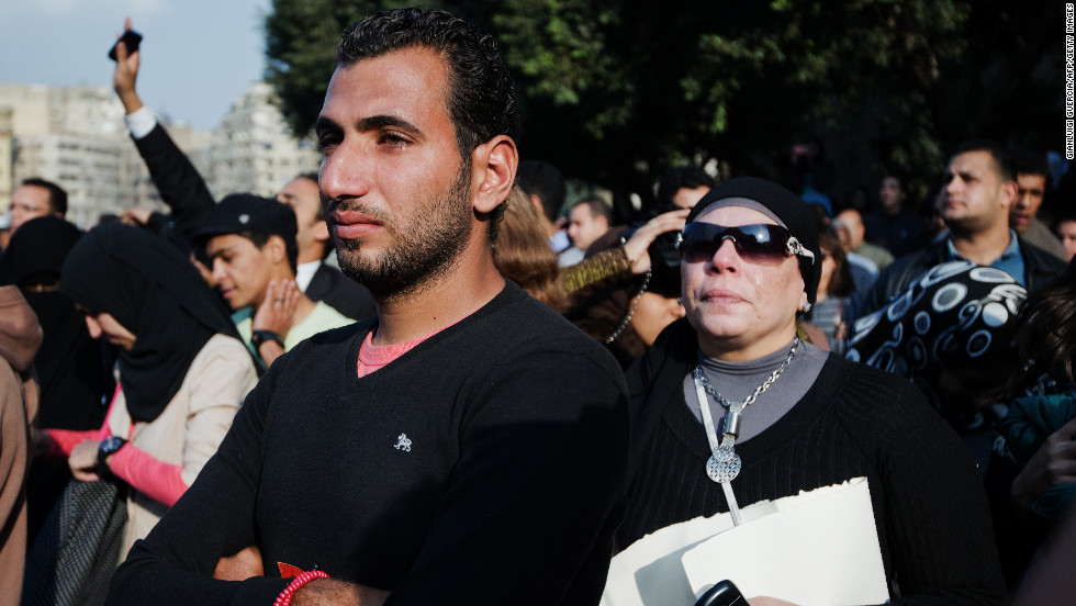 Thousands of activists attend the funeral of Gaber Salah on Monday.