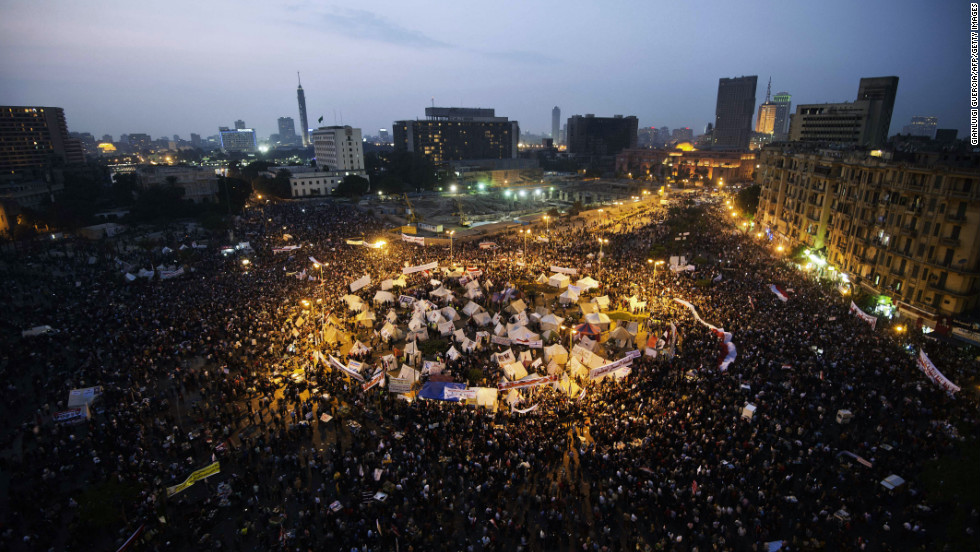 Protesters continue to rally in Tahrir Square on Tuesday.