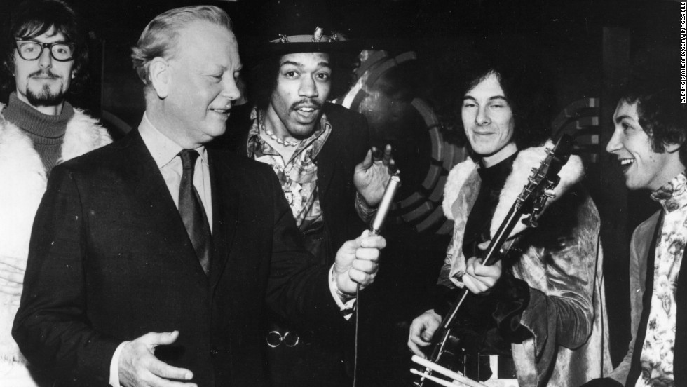 By 1967, Hendrix had gone to London and had formed The Jimi Hendrix Experience. Here, Hendrix is seen with bassist Noel Redding and drummer Mitch Mitchell, far right.