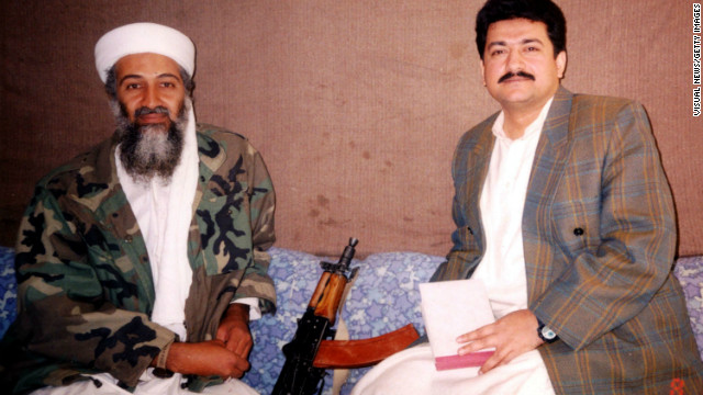 (File photo) Hamid Mir during an interview with Osama bin Laden in 2001 in Karachi.