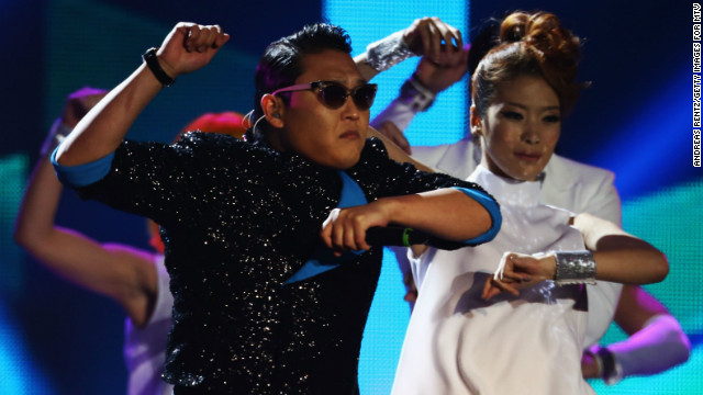 Psy performs 'Gangnam Style' onstage at the MTV EMA's 2012 in Frankfurt am Main, Germany, in November.