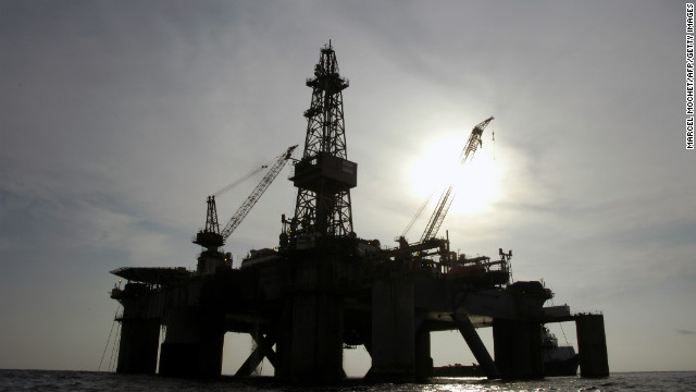 An oil platform of the US Pride company situated off Angola.