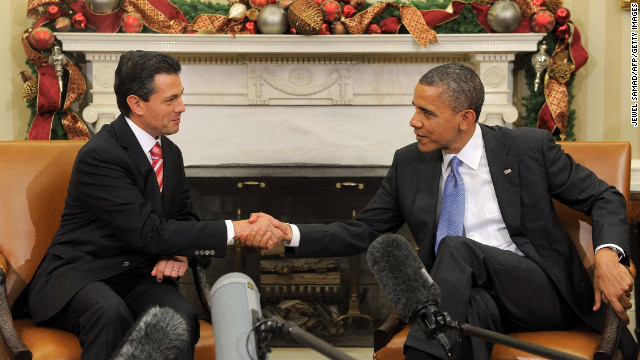 Mexican President Enrique Peña Nieto and U.S. President Barack Obama shake hands at a meeting in Washington last year.