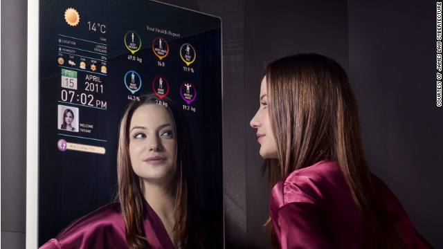 The $5,000 Cybertecture Mirror monitors health statistics and real-time social media updates.