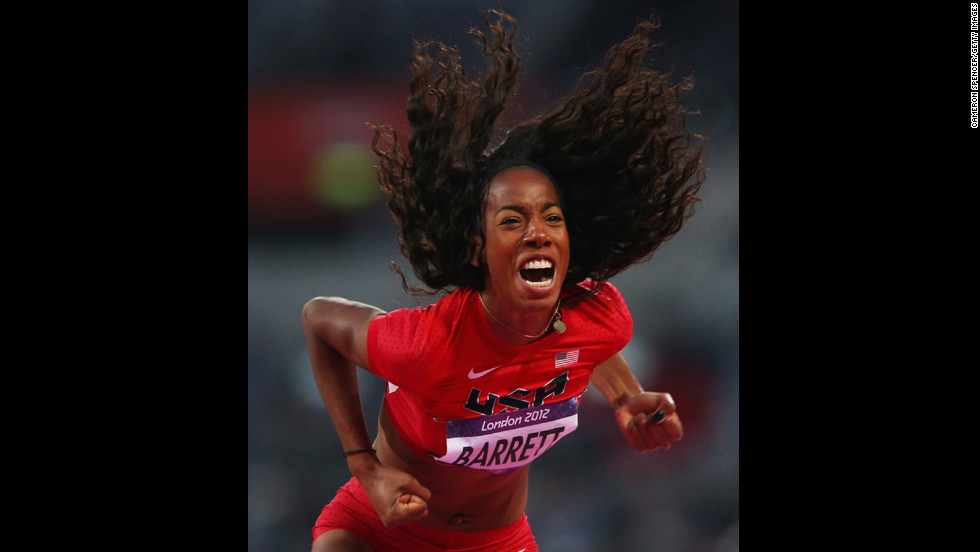 Brigetta Barrett of the United States celebrates after a jump during the women's high jump final on Day 15 of the London 2012 Olympic Games on August 11.