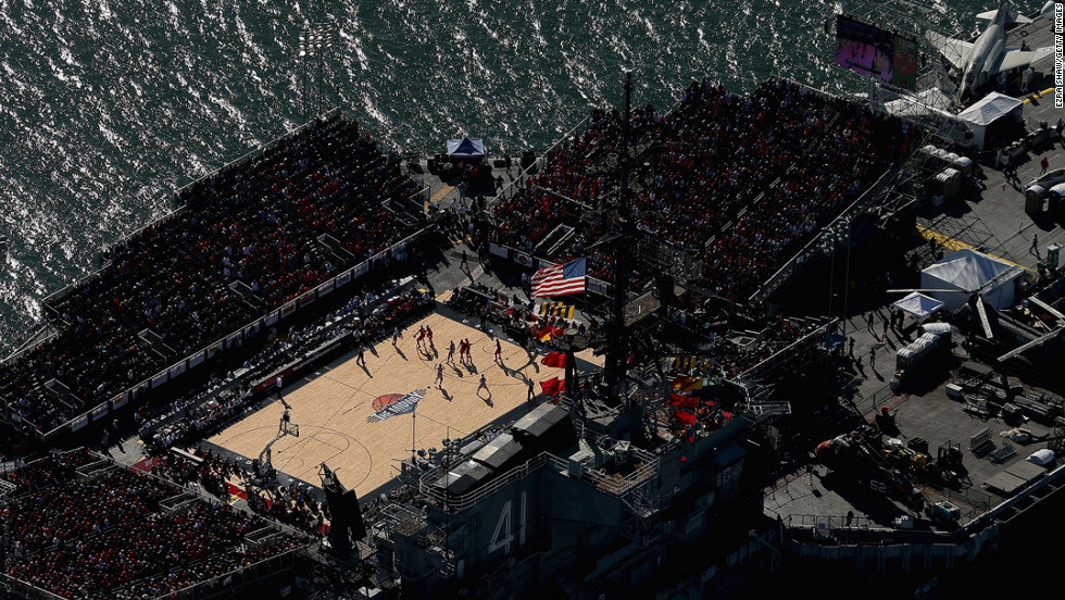 The Syracuse Orange and San Diego State Aztecs play during the Battle On The Midway college basketball game on the deck of the USS Midway on November 11 in San Diego, California.