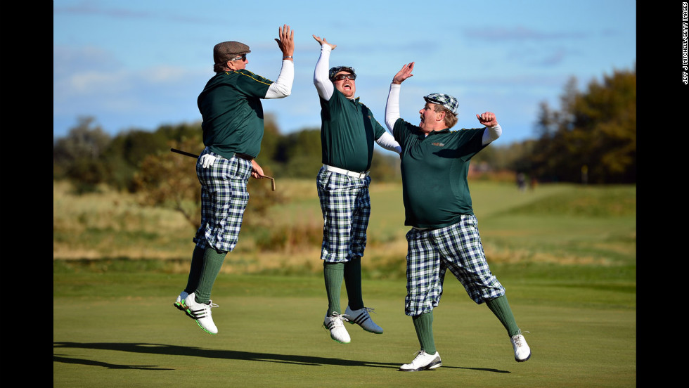 Golfers dressed in outfits from the 1930s play on Monifeith Links course during the 8th World Hickory Open on October 8 in Monifeith, Scotland.