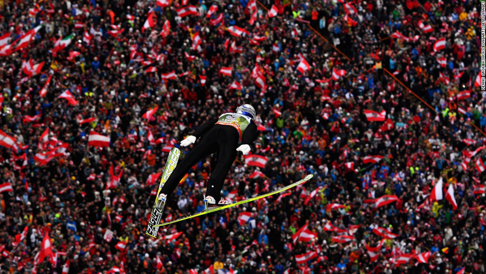 Austrian Gregor Schlierenzauer competes during the first round of the FIS Ski Jumping World Cup event at the 60th Four Hills Tournament at Bergisel on January 4 in Innsbruck, Austria.