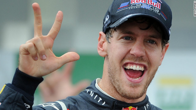 Red Bull's Sebastian Vettel has become the youngest triple world champion in Formula One history.