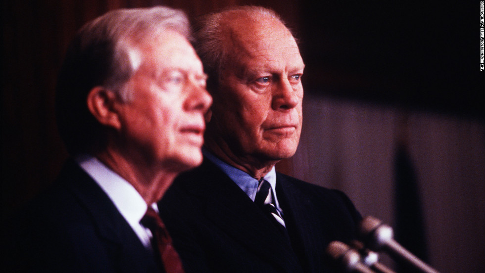 Former presidents Jimmy Carter and Gerald Ford, whom Carter had defeated in 1976, met with President-elect George H.W. Bush shortly after his election in November 1988.