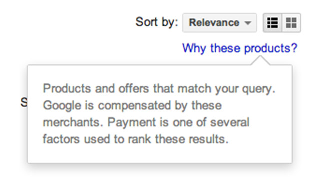 "To see this disclaimer on Google Shopping results, you just click on the ""Why these products?"" link."