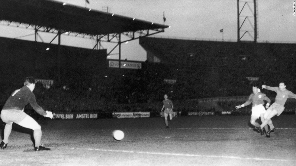 Benfica faced then five-time winners Real Madrid in the 1962 final in Amsterdam, where Guttmann's side produced a famous 5-3 victory. Puskas scored a first-half hat-trick for Real against his former manager but it was not enough as Eusebio fired the Lisbon side to glory with two second-half goals.