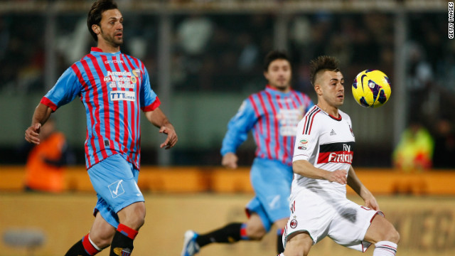 Stephan El Shaarawy scored twice as Milan came from behind to defeat Catania 3-1.