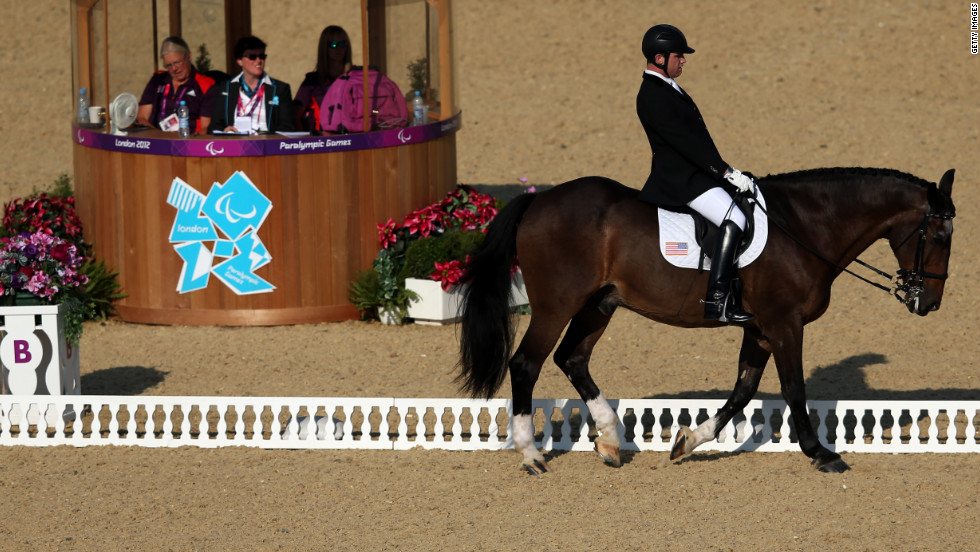The U.S.'s Jonathan Wentz competes in the dressage event at the London 2012 Paralympics. Many competitors said they became involved in riding as part of their treatment for physical disabilities.