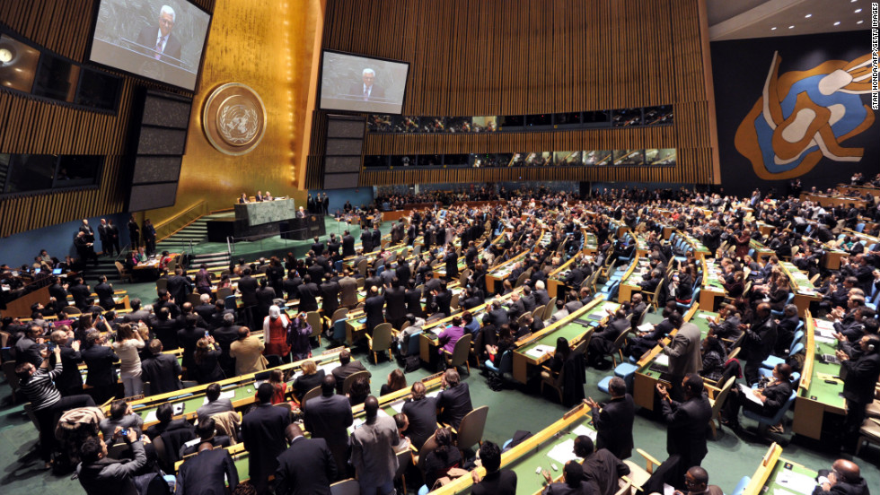 Palestinian Authority President Mahmoud Abbas is greeted by a standing ovation before speaking to the U.N. General Assembly about a vote on a resolution to upgrade the status of the Palestinian Authority to a nonmember observer state on Thursday, November 29, 2012, at U.N. headquarters in New York City.