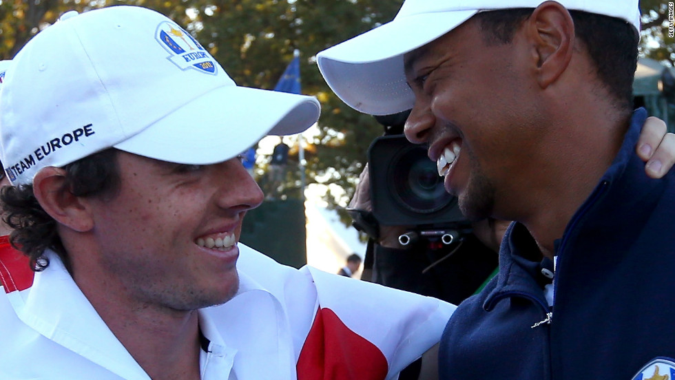 Even at the Ryder Cup, after Europe had completed one of the most dramatic comebacks in the competition's history to retain the trophy and stun the U.S. team, a triumphant McIlroy and despondent Woods managed to share a joke.