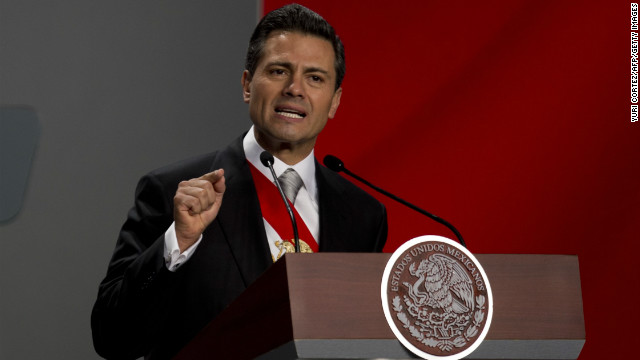 Enrique Pena Nieto delivers his first speech as Mexico's new president at the National Palace in Mexico City on Saturday.