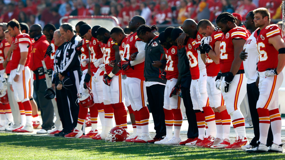 "Before their game against the Carolina Pathers on Sunday, the Kansas City Chiefs pause for a moment of silence to remember <a href=""http://www.cnn.com/2012/12/01/sport/football/nfl-chiefs-shooting/?hpt=us_c2"">Jovan Belcher, who police said killed</a> the mother of his baby daughter and then himself on Saturday."