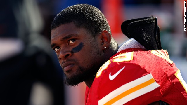 KANSAS CITY, MO - NOVEMBER 25:  Inside linebacker Jovan Belcher #59 of the Kansas City Chiefs wathces from the sideliens during his final game against the Denver Broncos at Arrowhead Stadium on November 25, 2012 in Kansas City, Missouri.  (Photo by Jamie Squire/Getty Images)