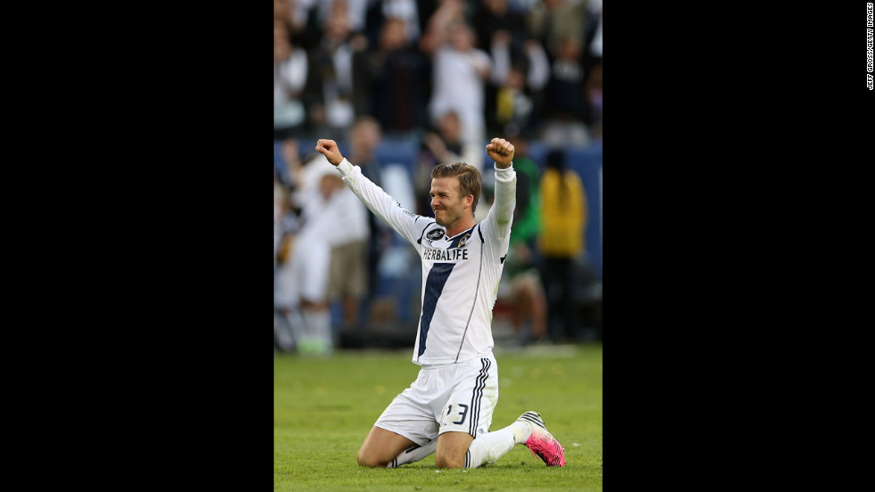 Beckham celebrates in the second half.
