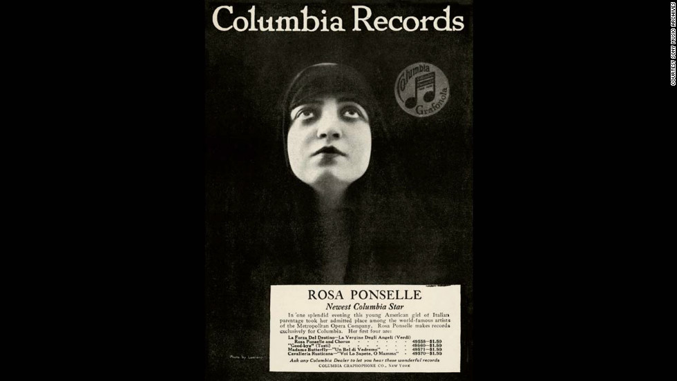 Advertisement for Rosa Ponselle, world-famous Metropolitan Opera Company artist.
