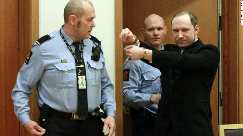 <strong>February 6: </strong>Anders Behring Breivik arrives for his court hearing in Oslo, Norway. He was sentenced to 21 years in prison on August 24 for killing 77 people in two terror attacks in Norway in 2011. Eight people died in a bombing in Oslo, while 69 young people were shot to death on nearby Utoya island.