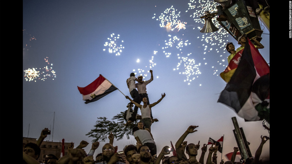 <strong>June 24: </strong>Egyptians celebrate the election of President Mohamed Morsy in Tahrir Square in Cairo. He was sworn in on June 30 as the country's first democratically elected president.