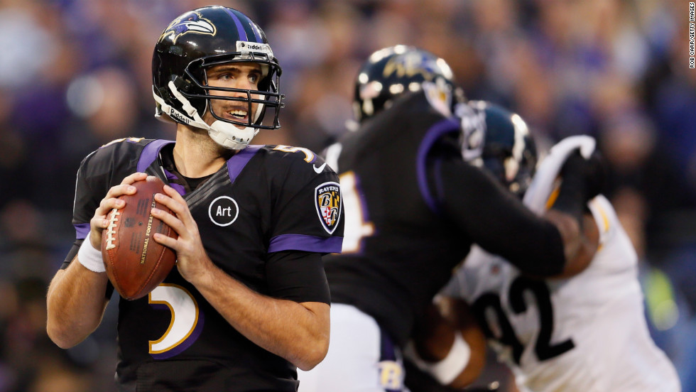 Quarterback Joe Flacco of the Baltimore Ravens drops back to pass against the Pittsburgh Steelers on Sunday.