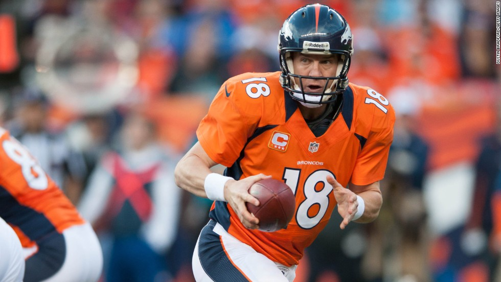 Quarterback Peyton Manning of the Denver Broncos in action against the Tampa Bay Buccaneers on Sunday.