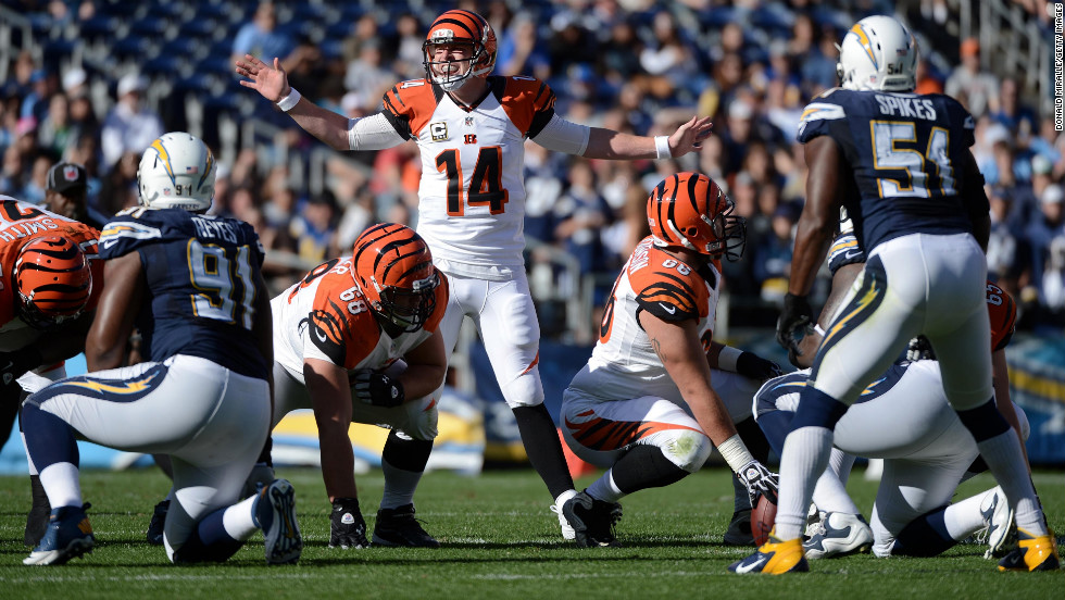 Andy Dalton of the Cincinnati Bengals calls an audible against the San Diego Chargers on Sunday.