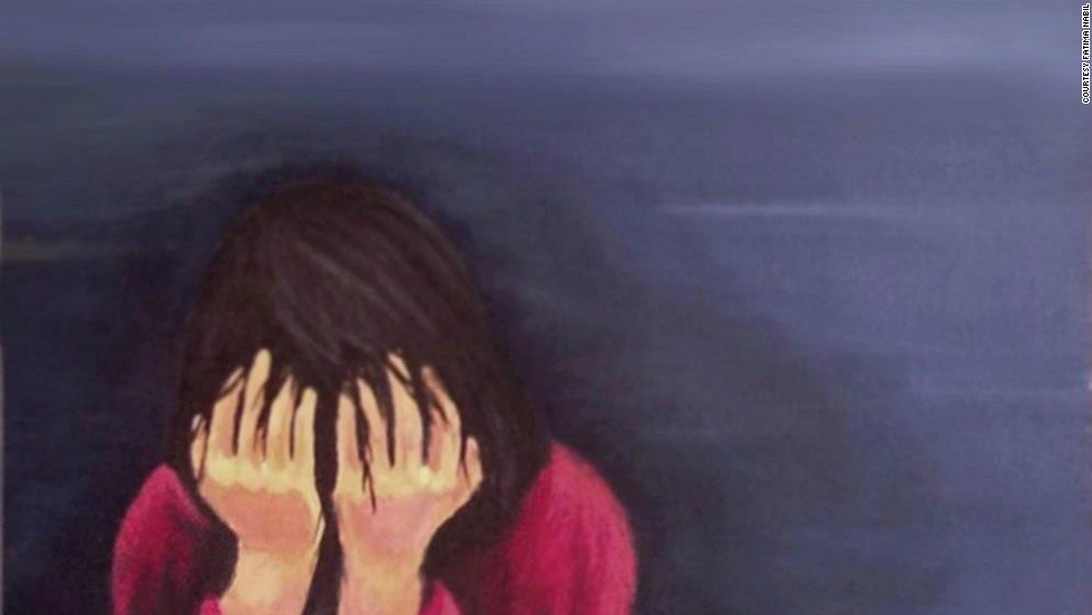 Fatima Nabil, 16, from Aden, Yemen painted this picture and submitted it to the campaign after her friend was forced to leave school and marry a man against her will.