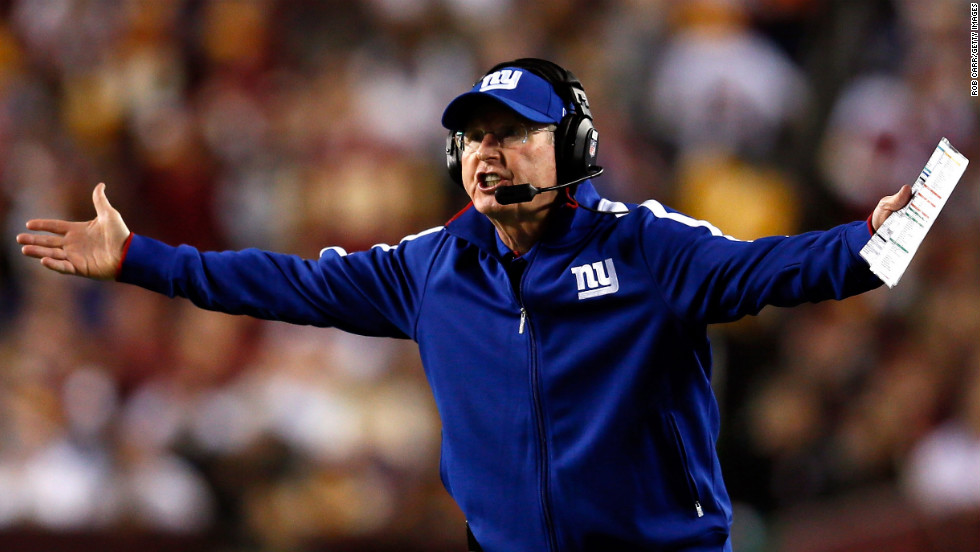Head coach Tom Coughlin of the New York Giants reacts during Monday night's game against the Washington Redskins.