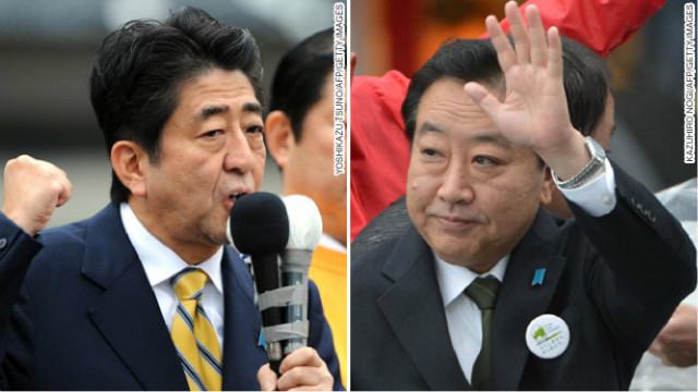 Shinzo Abe of the Liberal Democratic Party (L) is leading opinion polls ahead of incumbent Yoshihiko Noda (R).