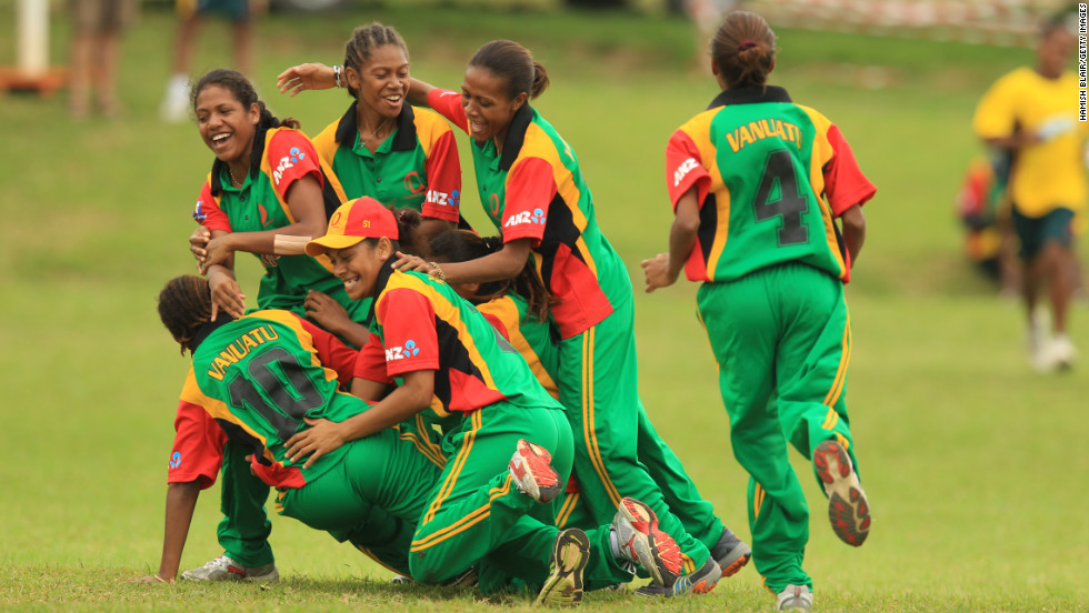 The Vanuatu women's national cricket team celebrates during a match against Japan at Independence Park during the ICC East Asia Pacific Women's Championship on May 17 in Port Vila, Vanuatu.