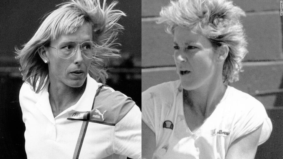 "Martina Navratilova, left, and Chris Evert had one of the biggest rivalries in women's tennis. ""They ended up as good buddies, but that was when the battling had been done,"" Tu says. ""All of the respect and friendship you get in sport comes through competence first -- ' I know how hard it is to be this good, so I respect them for that.' """