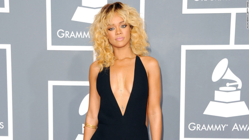 "The ""Diamonds"" singer arrives at the 2012 Grammy Awards."