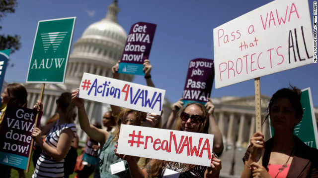 Activist groups rally for the reauthorization of the Violence Against Women Act on Capitol Hill on June 26.