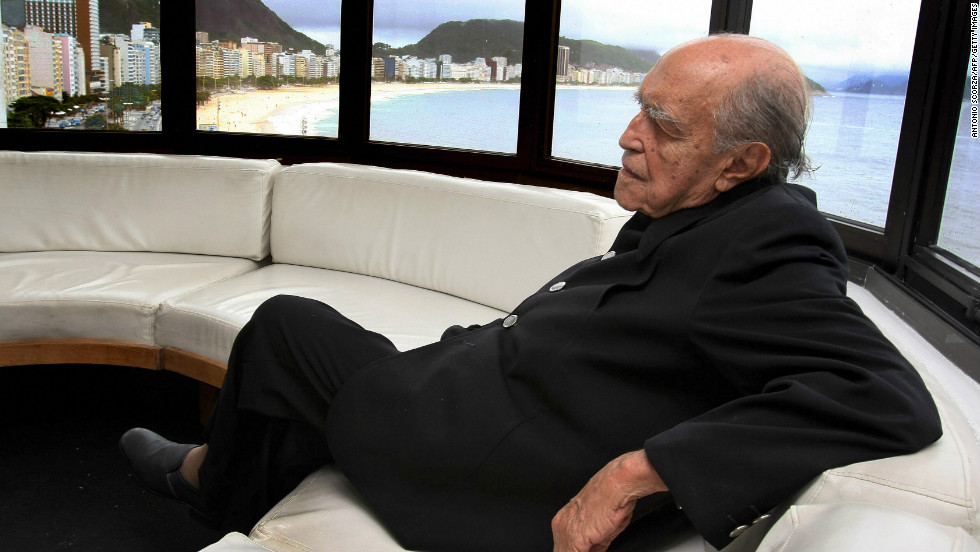 Brazilian architect Oscar Niemeyer died just days short of his 105th birthday, on December 5, 2012. Here, he's seen on the balcony of his studio in Copacabana in 2007.