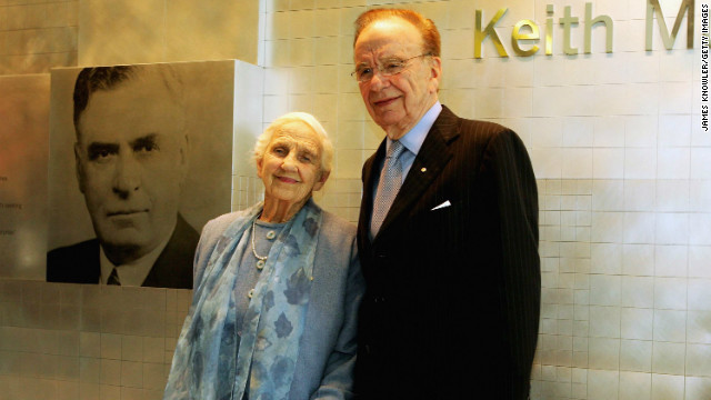 Rupert Murdoch and his mother Dame Elizabeth Murdoch are pictured together in November 2005 in Adelaide, Australia.