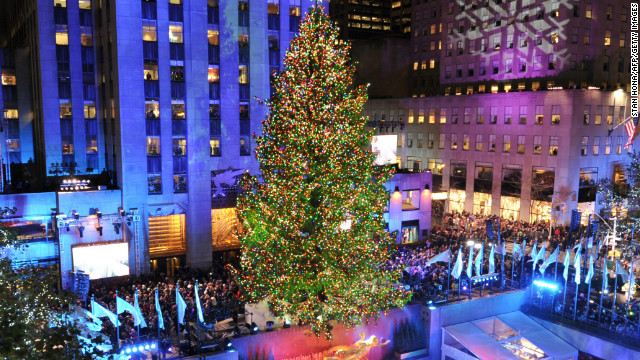 The Rockefeller Center Christmas Tree in New York is lit despite what some say is a war on Christmas.