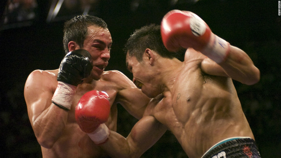 Manny Pacquiao and Juan Manuel Marquez went head-to-head for the first time in the featherweight division in 2004, a controversial bout which ended as a draw. The result stood, despite one judge admitting he had made a mistake when scoring a round 10-7 to Pacquiao rather than 10-6. They stepped back into the ring in a super featherweight fight in 2008, pictured above.