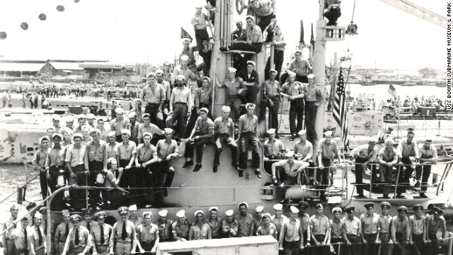 Crew of the USS Bowfin submarine take a picture  in July 1945. The vessel was launched exactly one year after the attack on Pearl Harbor.