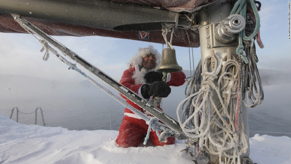 Valery Kokoulin, 47, rings a bell on his yacht to mark the end of the sailboat season on Friday, December 7, on the Yenisei River outside Krasnoyarsk, Russia. Temperatures in the Siberian city dipped to minus 9.4 degrees Fahrenheit.