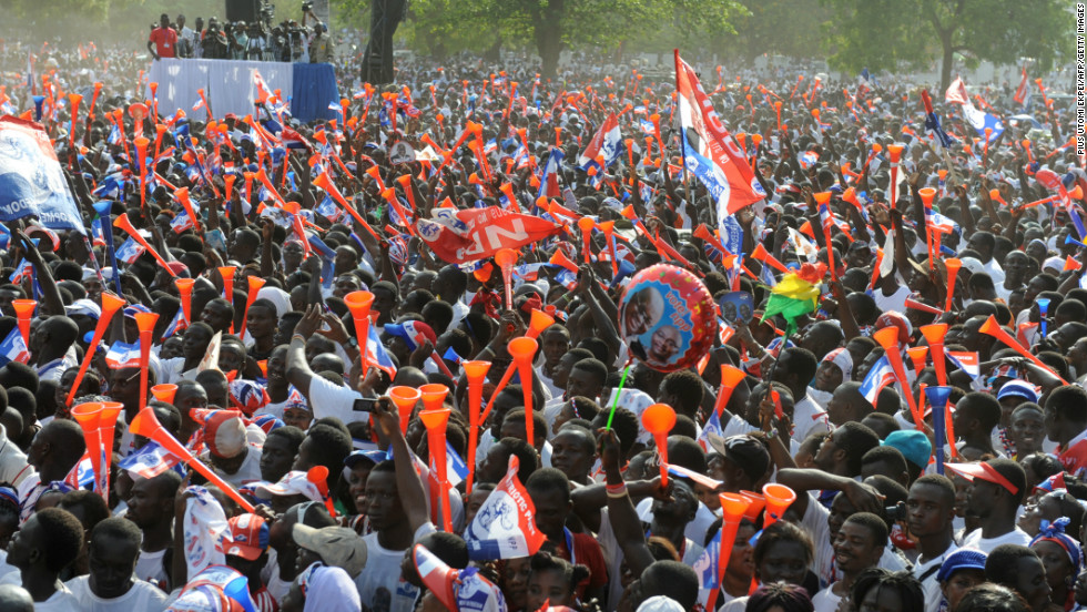 December: Supporters of the opposition New Patriotic Party dance during the final rally of the party in Ghana's capital Accra on December 5. However, incumbent president John Dramani Mahama was re-elected.