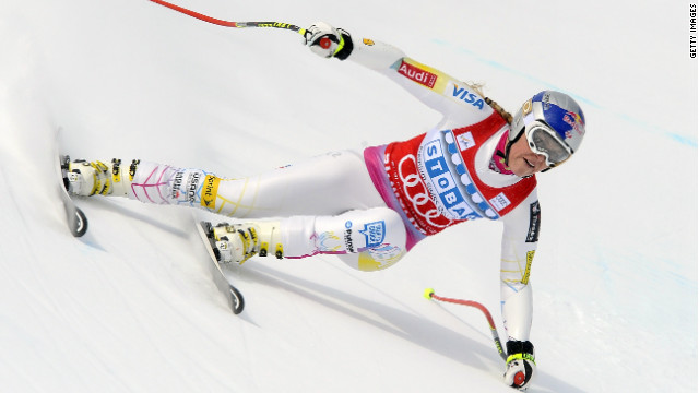 U.S. skier Lindsey Vonn on the way to victory in Saturday''s Super-G race at St. Moritz.
