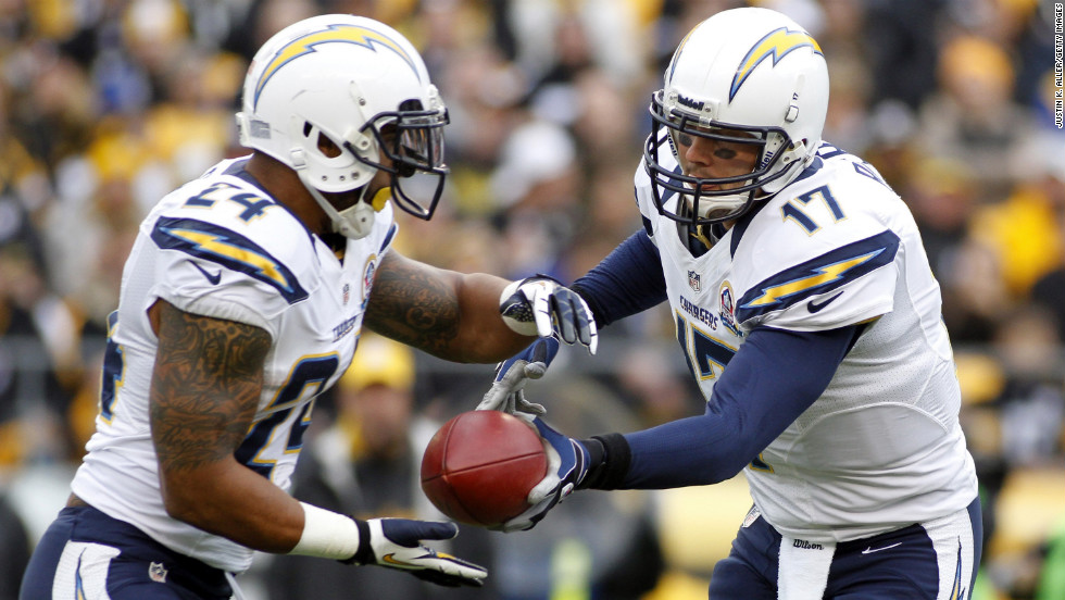 San Diego Chargers quarterback Philip Rivers hands off to running back Ryan Mathews during the game against the Pittsburgh Steelers on Sunday at Heinz Field in Pittsburgh, Pennsylvania.