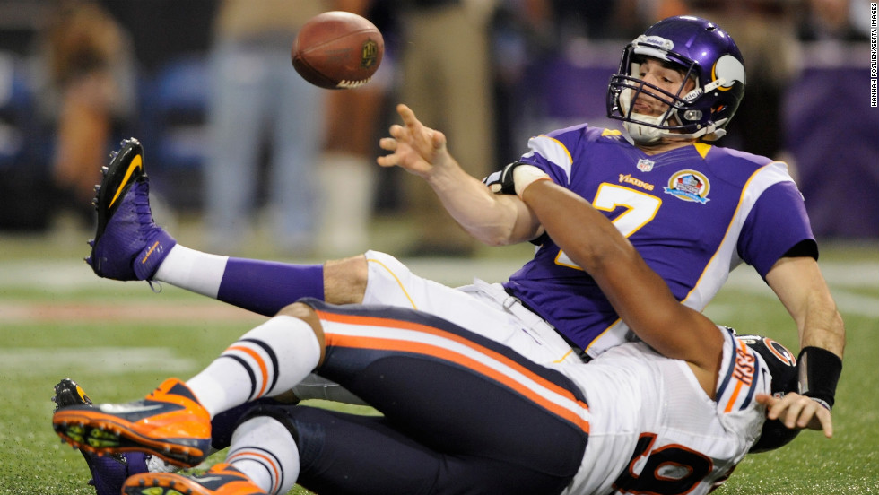 Corey Wootton of the Chicago Bears sacks Vikings quarterback Christian Ponder during the first quarter on Sunday.