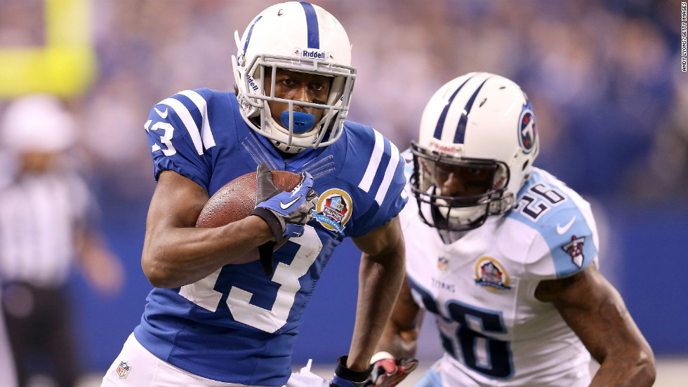 Indianapolis Colts wide receiver T.Y. Hilton rruns with the ball against the Tennessee Titans at Lucas Oil Stadium on Sunday, December 9, in Indianapolis, Indiana.