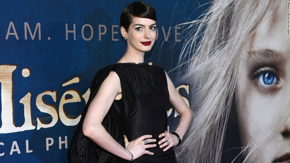 "Anne Hathaway attends the ""Les Miserables"" premiere in New York City."